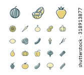 thin line icons for fruits and... | Shutterstock . vector #318913877