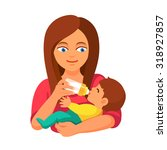 mother holding and feeding baby ... | Shutterstock .eps vector #318927857