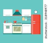 flat kitchen. vector... | Shutterstock .eps vector #318948977