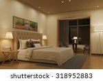 illuminated bedroom with double ...   Shutterstock . vector #318952883