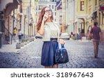 girl talking on the phone. girl ... | Shutterstock . vector #318967643