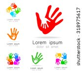 hands   a collection of logo... | Shutterstock .eps vector #318975617