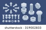 Set Of The Isometric Screw Nut...