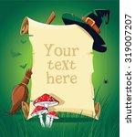 halloween green banner with...   Shutterstock .eps vector #319007207