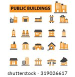public buildings  houses icons | Shutterstock .eps vector #319026617