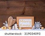 golden christmas decoration on...   Shutterstock . vector #319034093