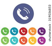 calling icons set  on colored...