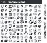 100 finance icons set  black ...
