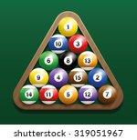 pool billiard balls in a wooden ...