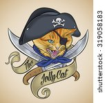 vintage tattoo design of a cat... | Shutterstock .eps vector #319058183