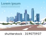 winter road to modern city view ... | Shutterstock .eps vector #319075937