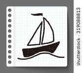 doodle sailboat | Shutterstock .eps vector #319088813