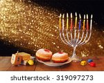 low key image of jewish holiday ...   Shutterstock . vector #319097273