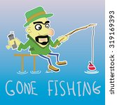funny flat fisherman drink some ... | Shutterstock .eps vector #319169393