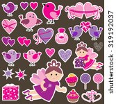 stickers with birds  hearts and ... | Shutterstock .eps vector #319192037
