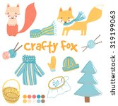 vector set with child foxes and ... | Shutterstock .eps vector #319199063