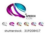 set of abstract speech bubble...