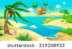 view on the beach. vector... | Shutterstock .eps vector #319208933