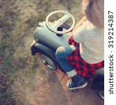 stylish toddler and vintage car | Shutterstock . vector #319214387