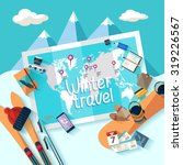 winter travel. flat design. | Shutterstock .eps vector #319226567
