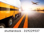 container truck in shipping... | Shutterstock . vector #319229537