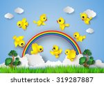bird flying over field.paper...   Shutterstock .eps vector #319287887