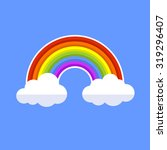 rainbow with clouds. flat style ... | Shutterstock .eps vector #319296407