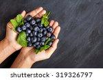 fresh blueberries in hands on... | Shutterstock . vector #319326797
