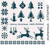 christmas winter pattern pixels  | Shutterstock .eps vector #319369487