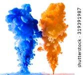 Orange And Blue Ink Splashes I...