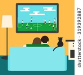 couple and cat watching... | Shutterstock .eps vector #319392887