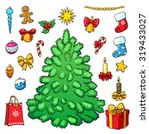 christmas set. christmas tree... | Shutterstock .eps vector #319433027
