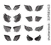 wings black icons vector set ... | Shutterstock .eps vector #319581413