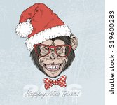 Smiling Chimpanzee Monkey In...