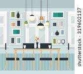 flat design interior dining... | Shutterstock .eps vector #319602137