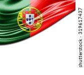 portugal  flag of silk with... | Shutterstock . vector #319617437