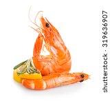tiger shrimps with lemon slice... | Shutterstock . vector #319636907