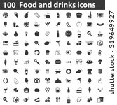 100 food icons set black.... | Shutterstock .eps vector #319649927