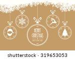christmas balls hanging gold... | Shutterstock .eps vector #319653053