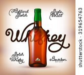 whiskey bottle and labels set.... | Shutterstock .eps vector #319654763