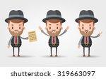 three cute cartoon gangsters  ... | Shutterstock .eps vector #319663097