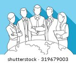 hand drawing successful team... | Shutterstock .eps vector #319679003