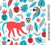 monkey seamless pattern....   Shutterstock .eps vector #319691453