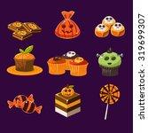 set of colorful halloween... | Shutterstock .eps vector #319699307