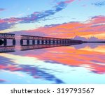 colorful sunset over the old...   Shutterstock . vector #319793567