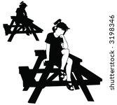 vector girl on picnic table   Shutterstock .eps vector #3198346