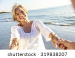 happy senior man and woman... | Shutterstock . vector #319838207