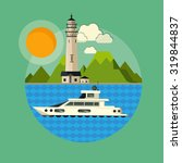 lighthouse and boat | Shutterstock .eps vector #319844837
