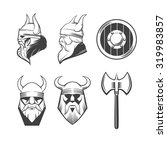 viking head  shield and ax ... | Shutterstock .eps vector #319983857