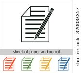 sheet of paper and pencil icon. ...   Shutterstock .eps vector #320036357